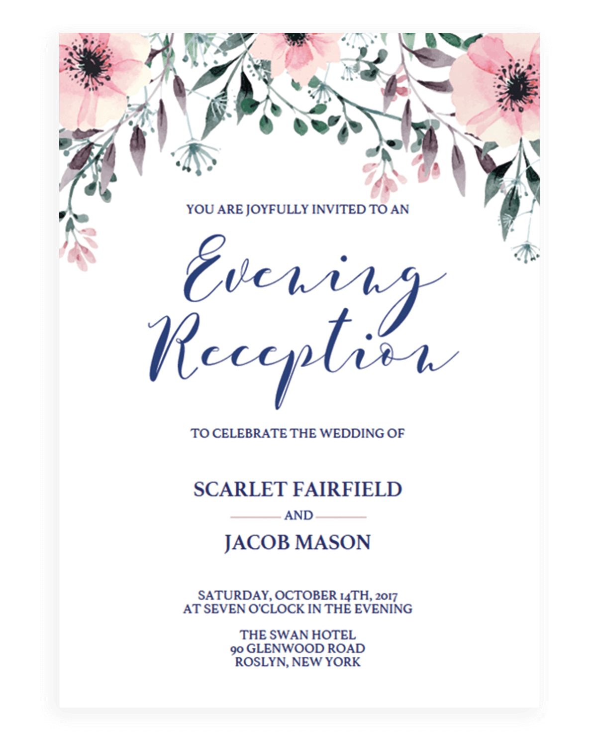 Wedding evening reception invitations instant downloads floral wedding reception invitation template by papersizzle monicamarmolfo Gallery