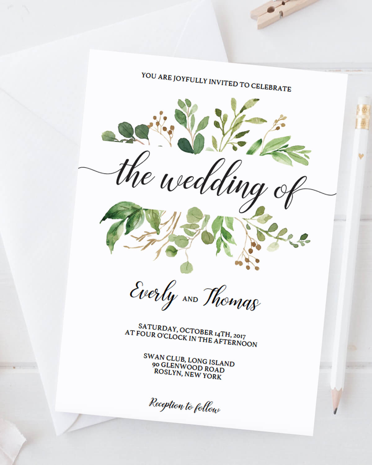 Green Leaves Watercolor Wedding Invitation Template Download ...