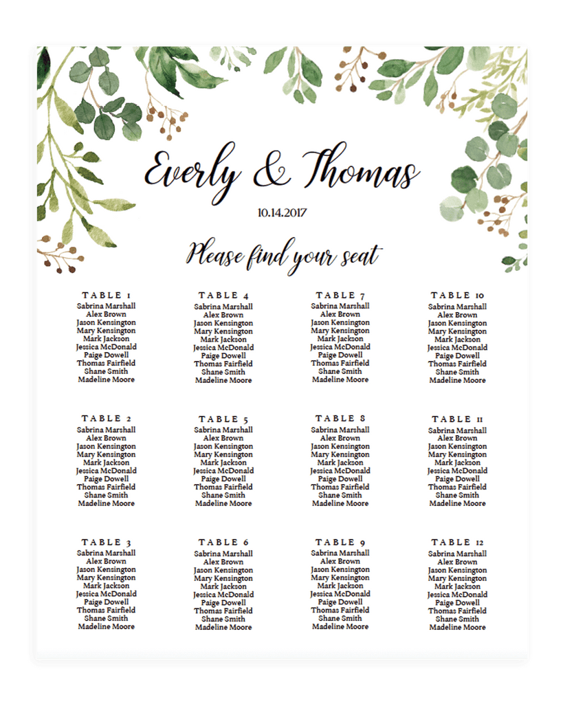 Wedding Seating Chart Template | Instant Download – Papersizzle
