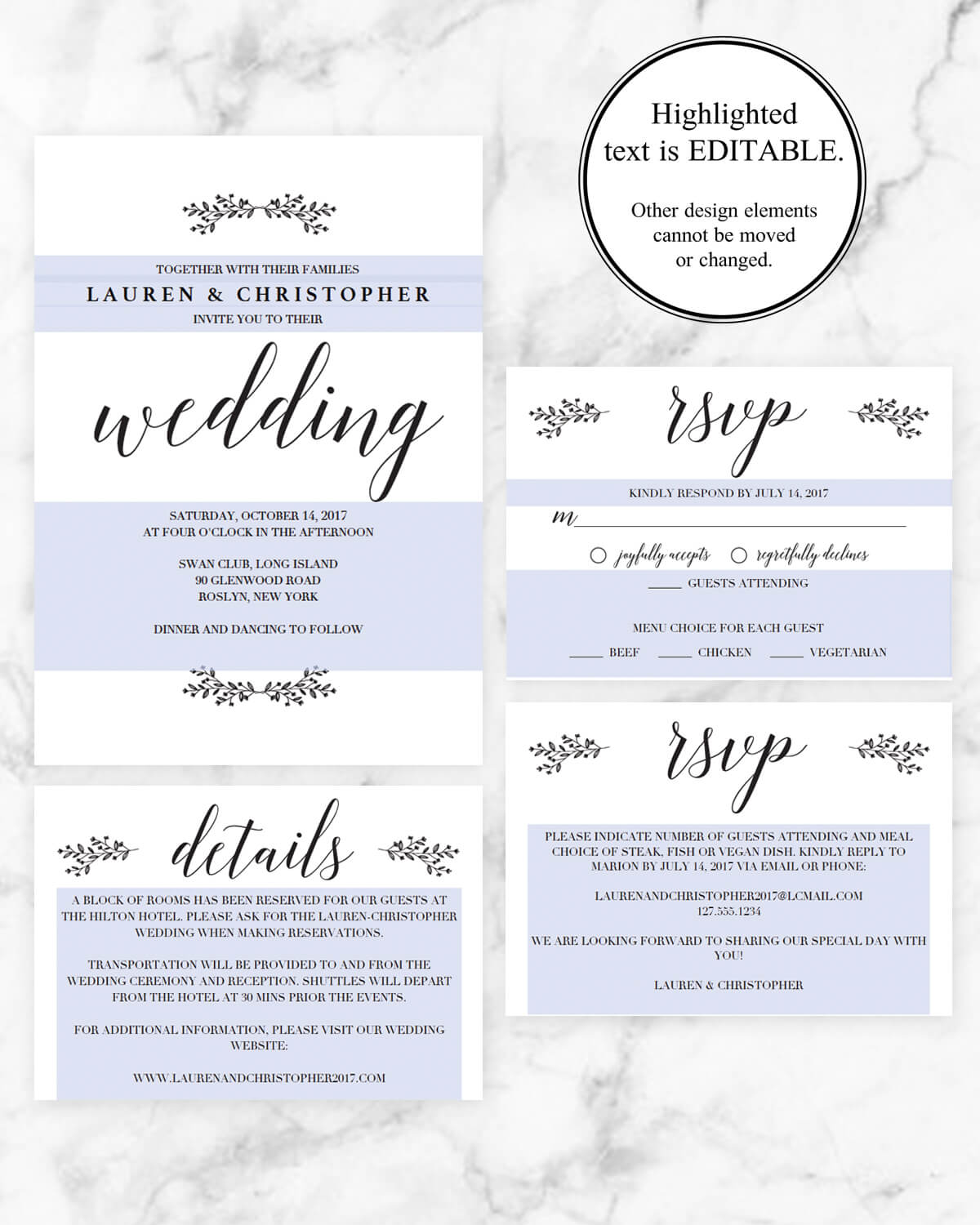 Rustic Wedding Invitation Sets | Instant Downloadable Wedding ...