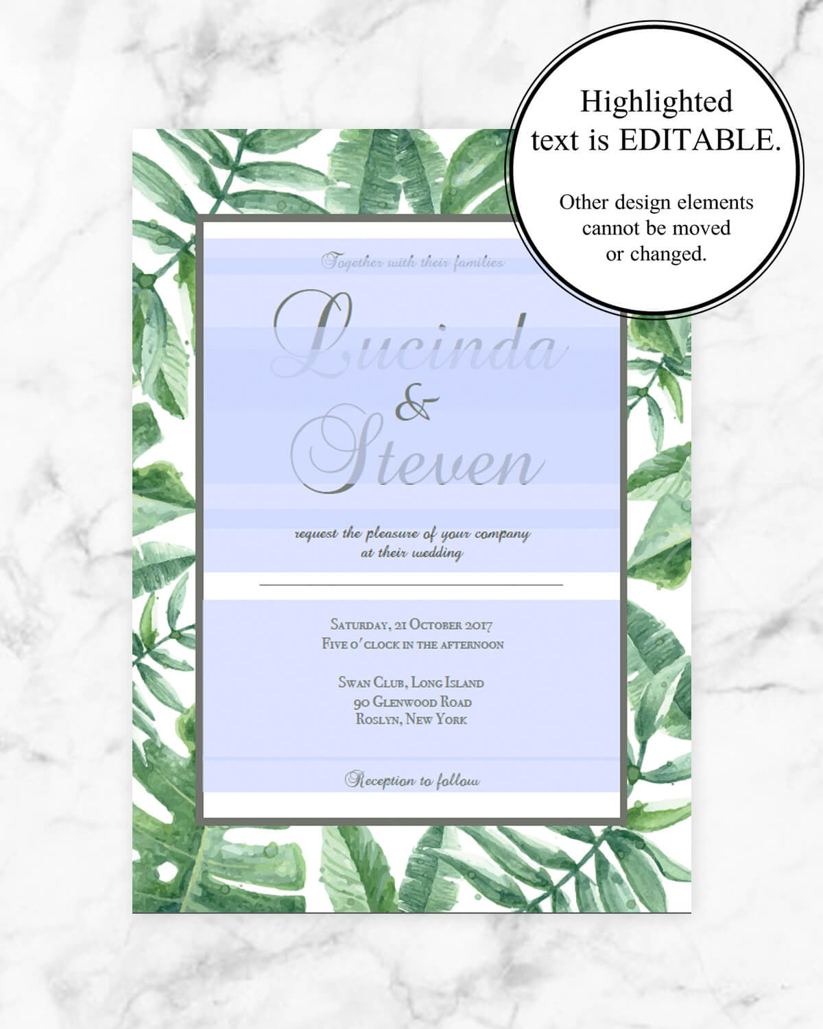 Botanic Greenery - Wedding Invitation - Papersizzle