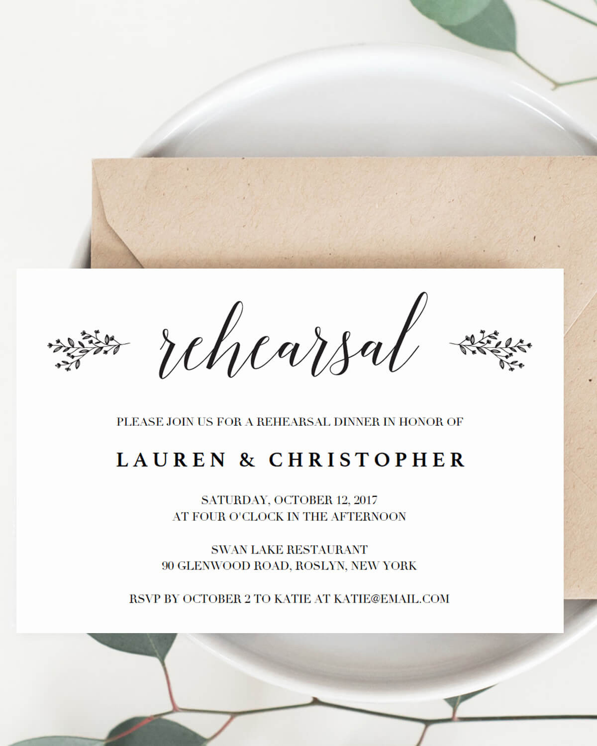 Invite Your Guests In Style To Wedding Rehearsal Dinner With This Rustic Tiny Leaves