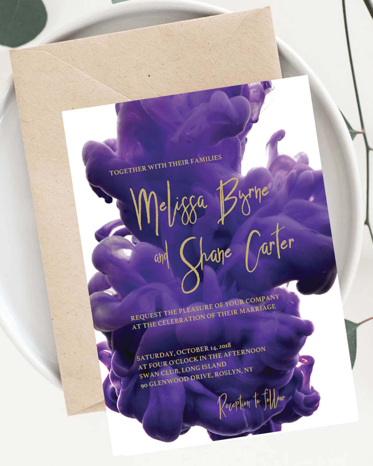 Purple And Gold Wedding Invitation Instant Download By Papersizzle