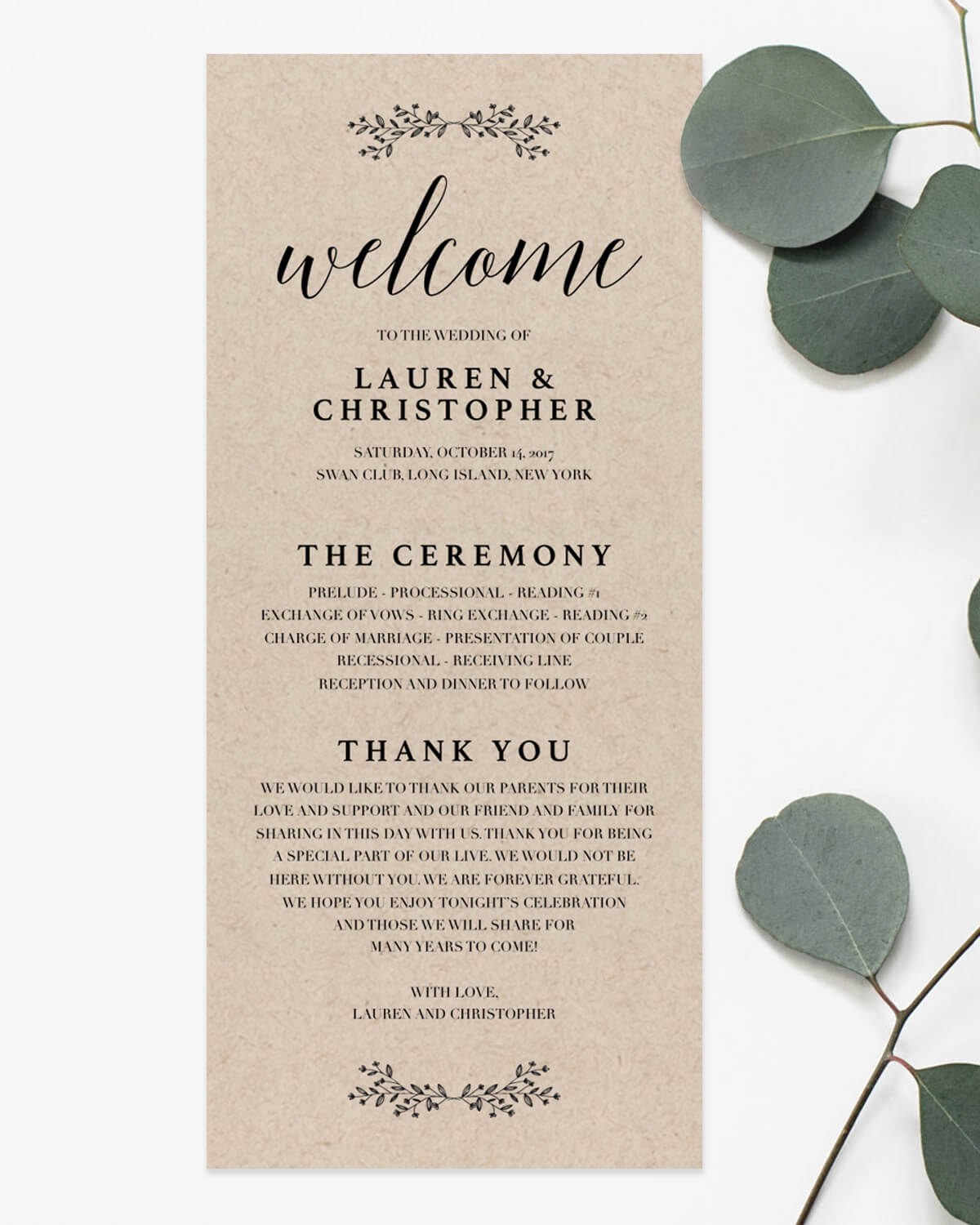 Modern Rustic Wedding Programs Templates By Papersizzle