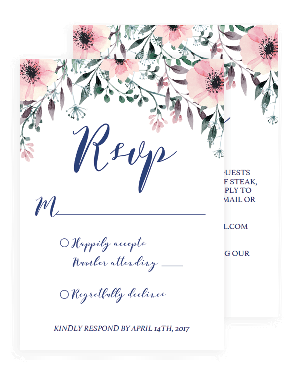 Floral Wedding Rsvp Cards Template By Papersizzle  Party Rsvp Template