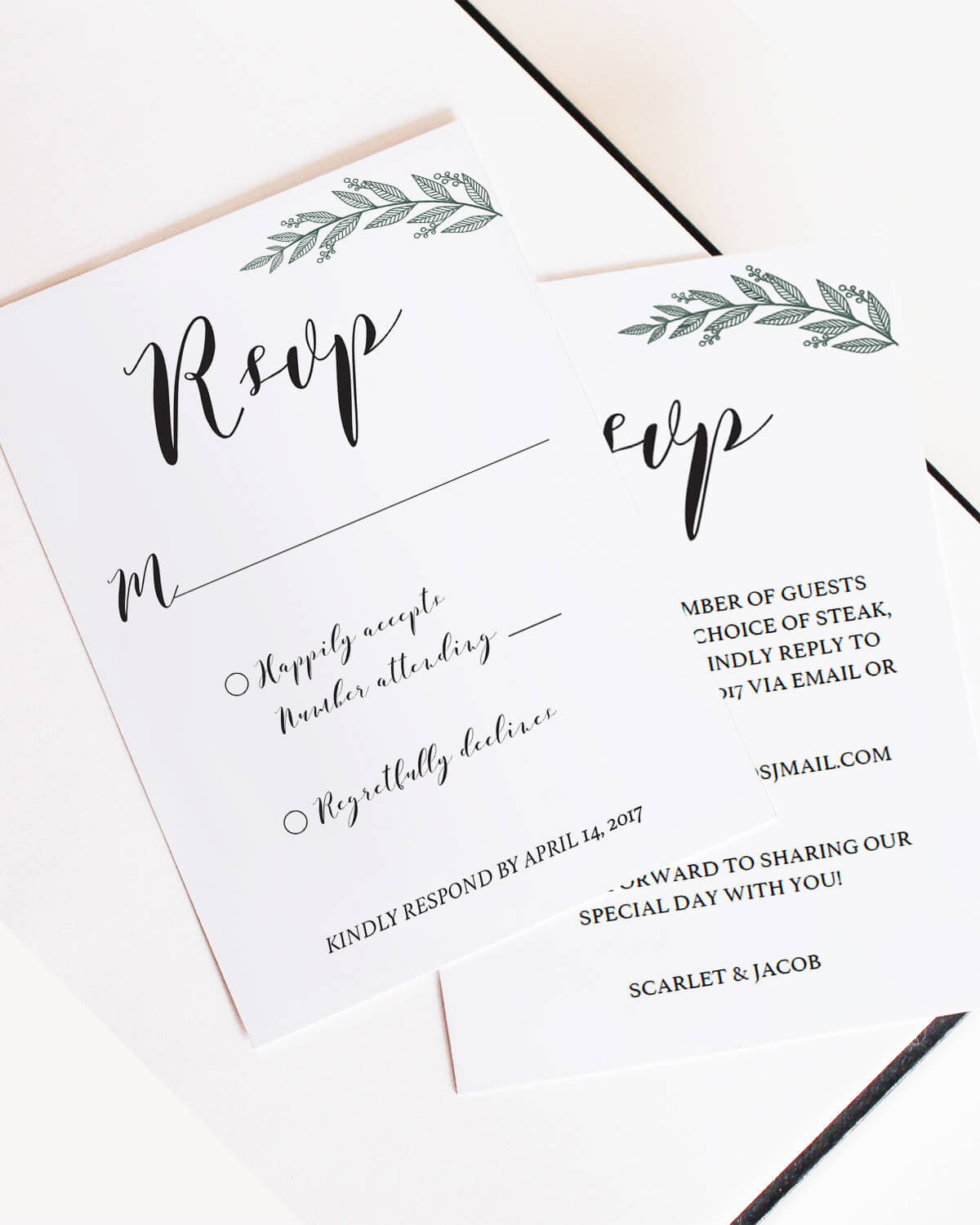 Watercolor greenery wedding rsvp card templates wedding green leaves wedding response cards template download by papersizzle pronofoot35fo Images