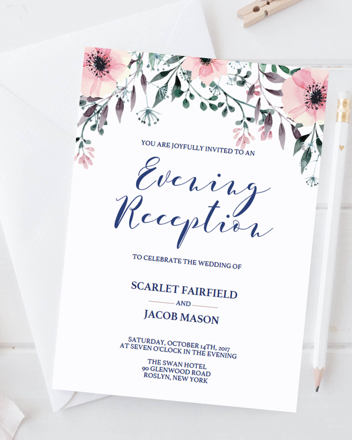Wedding Evening Reception Invitations - Instant Downloads ...