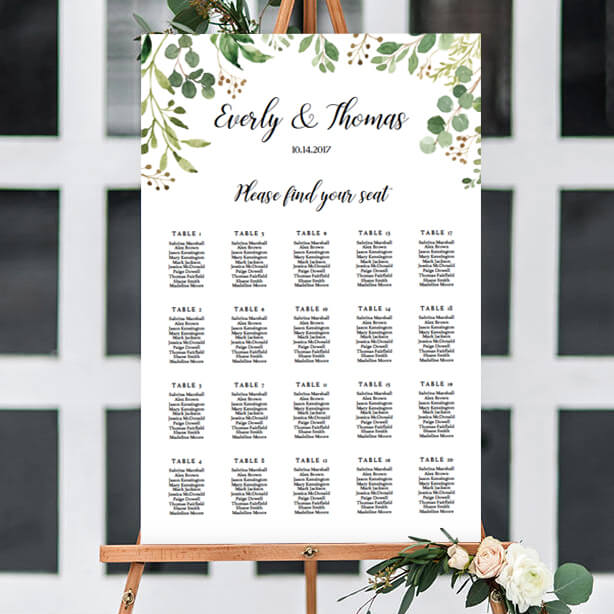 Wedding seating chart template instant download papersizzle