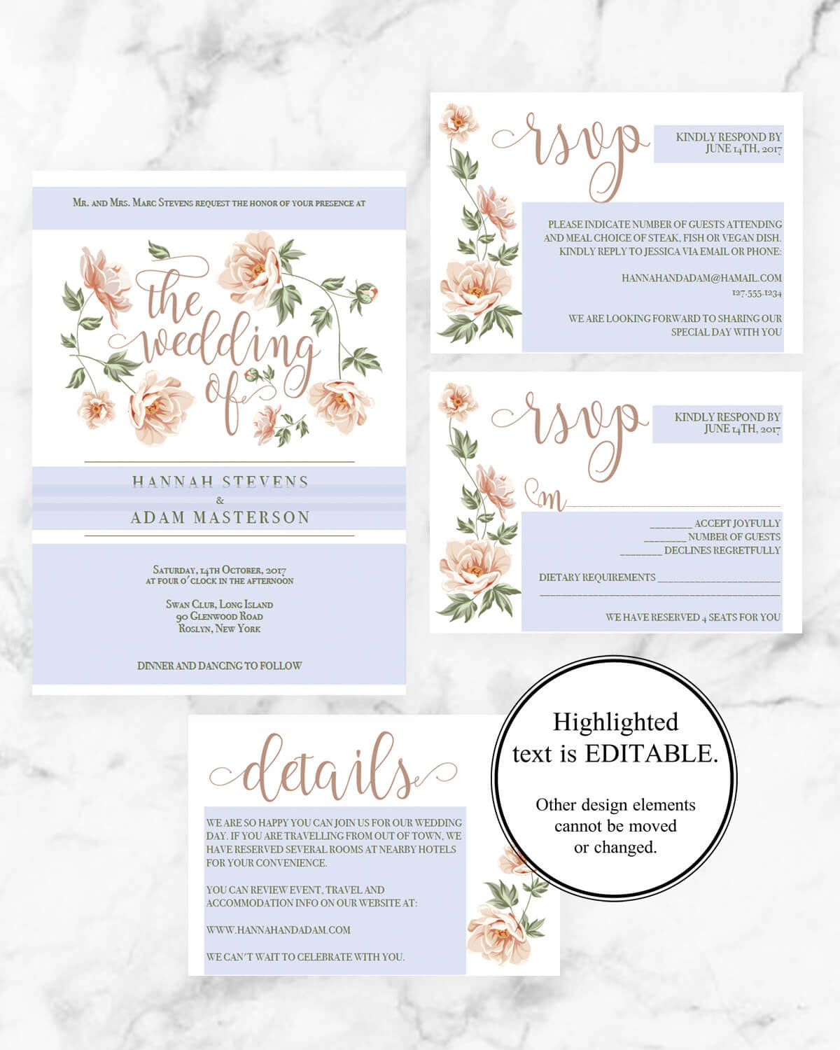 Blush Flowers - Wedding Invitation Suite - Papersizzle