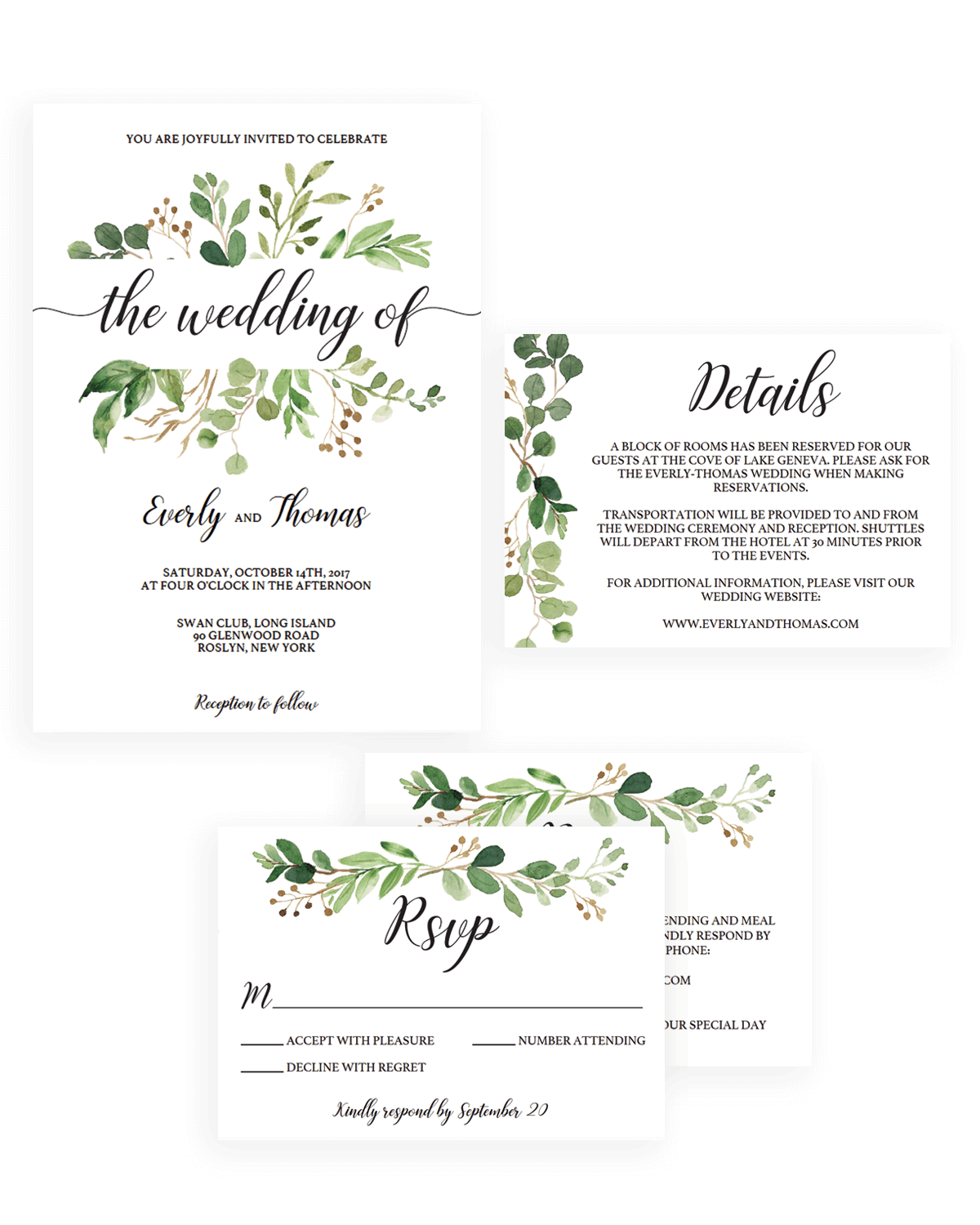 Watercolor Leaves Wedding Invitation Kit Template Download By Papersizzle  Invitation Information Template