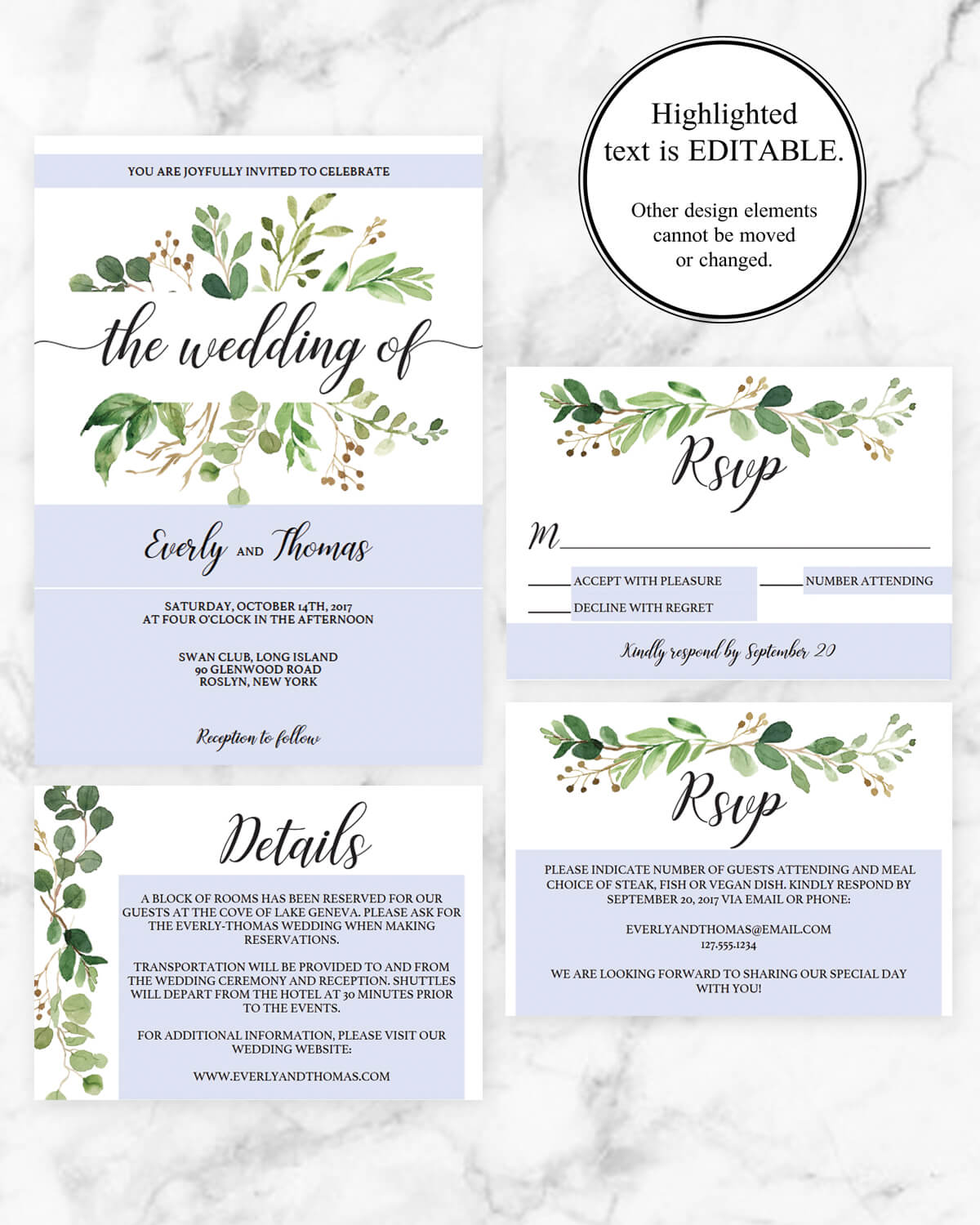 Editable Wedding Invitation Set Instant Download By Papersizzle