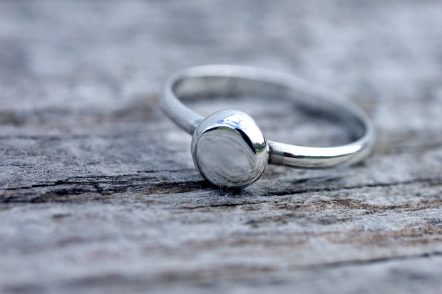 Sterling Silver Large Pebble Ring
