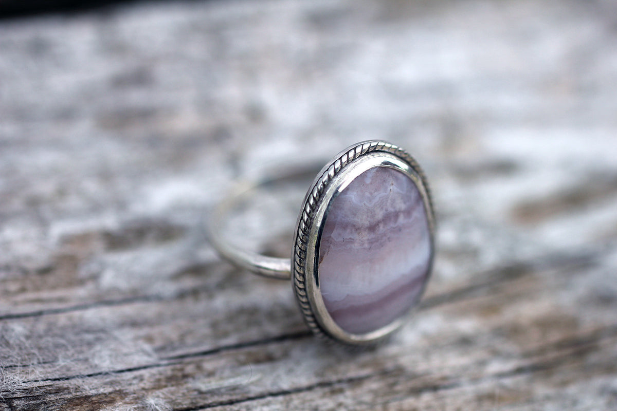 Purple Agate Sterling Silver Ring - Size 8.5