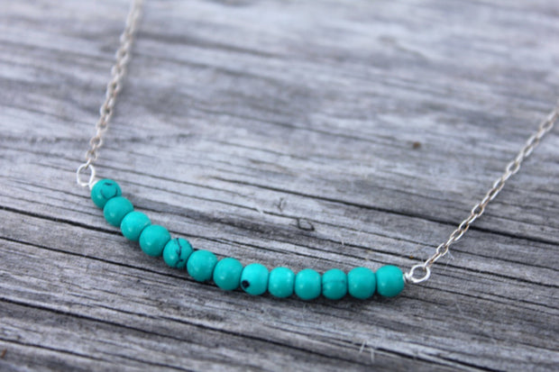 Lab Created Turquoise Bead Bar Necklace