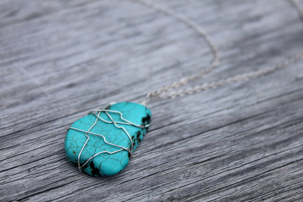 Wide Open Sky Natural Arizona Turquoise Sterling Silver Wire Wrapped Pendant