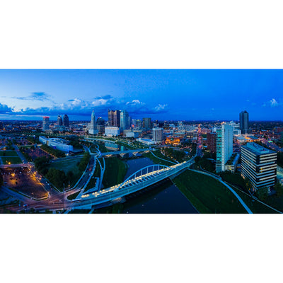 Panoramic View of Main Street Bridge & Columbus Skyline