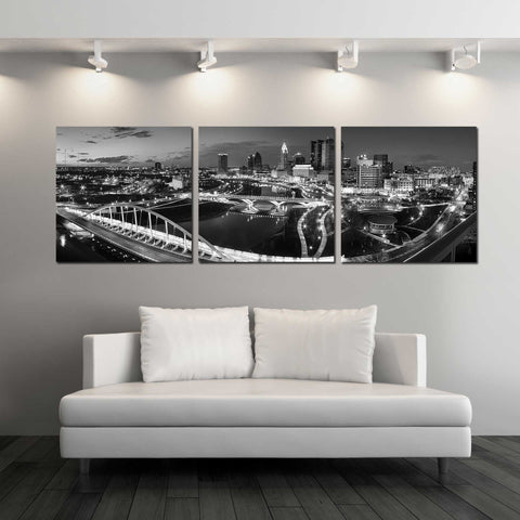 Panoramic View of Columbus Skyline in B&W
