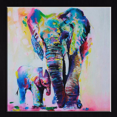 Colorful Modern Abstract Painting Artwork of Elephant - No Frame