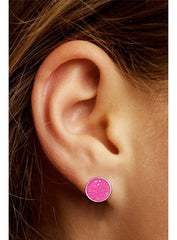 Pink Glitter Bowling Ball Post Earrings
