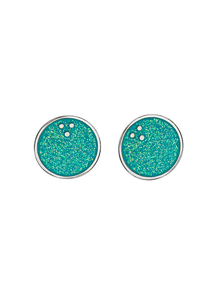 Turquoise Glitter Bowling Ball Post Earrings