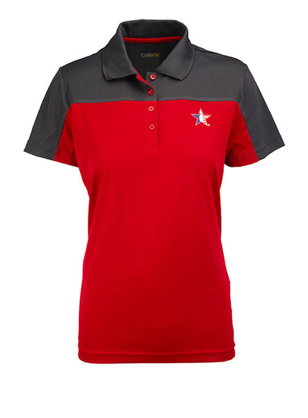 Ladies Pinstar Red Performance Polo