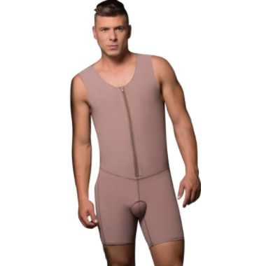 Male Body Garment, Mid-Thigh & Sleeveless (Frontal Zipper) | Fajas D' Prada | Allure Shops™