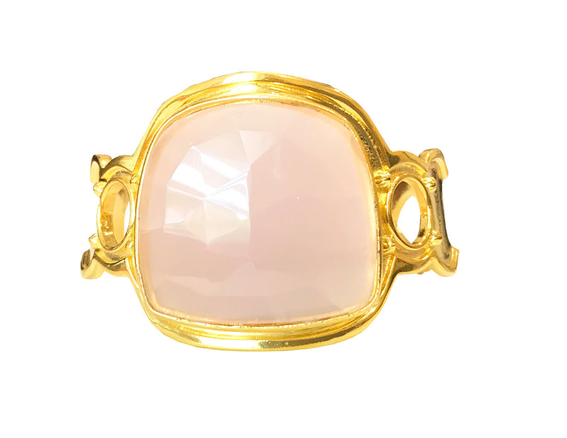 Bold Athena Bracelet with Large Rose Quartz Stone and 18 Karat Gold