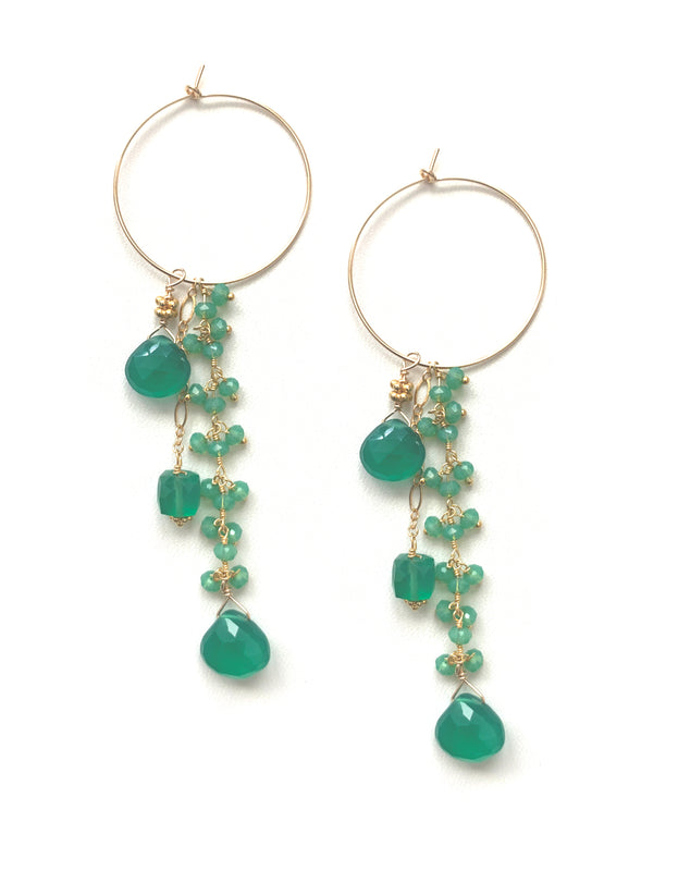 Green Jade dangle teardrop Earrings