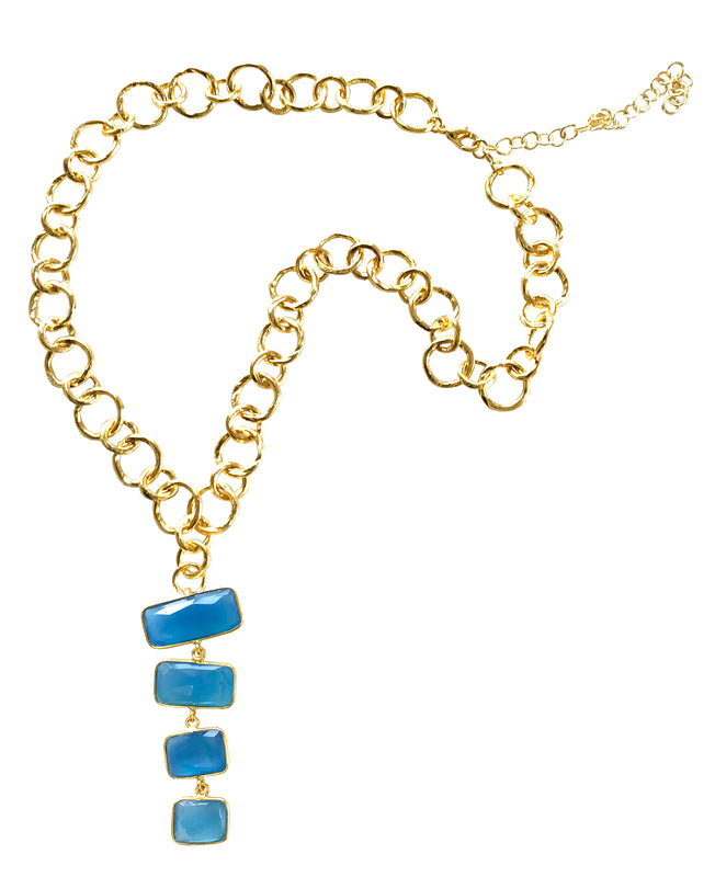 Dramatic Blue Chalcedony Cascading Necklace with Golden Chain