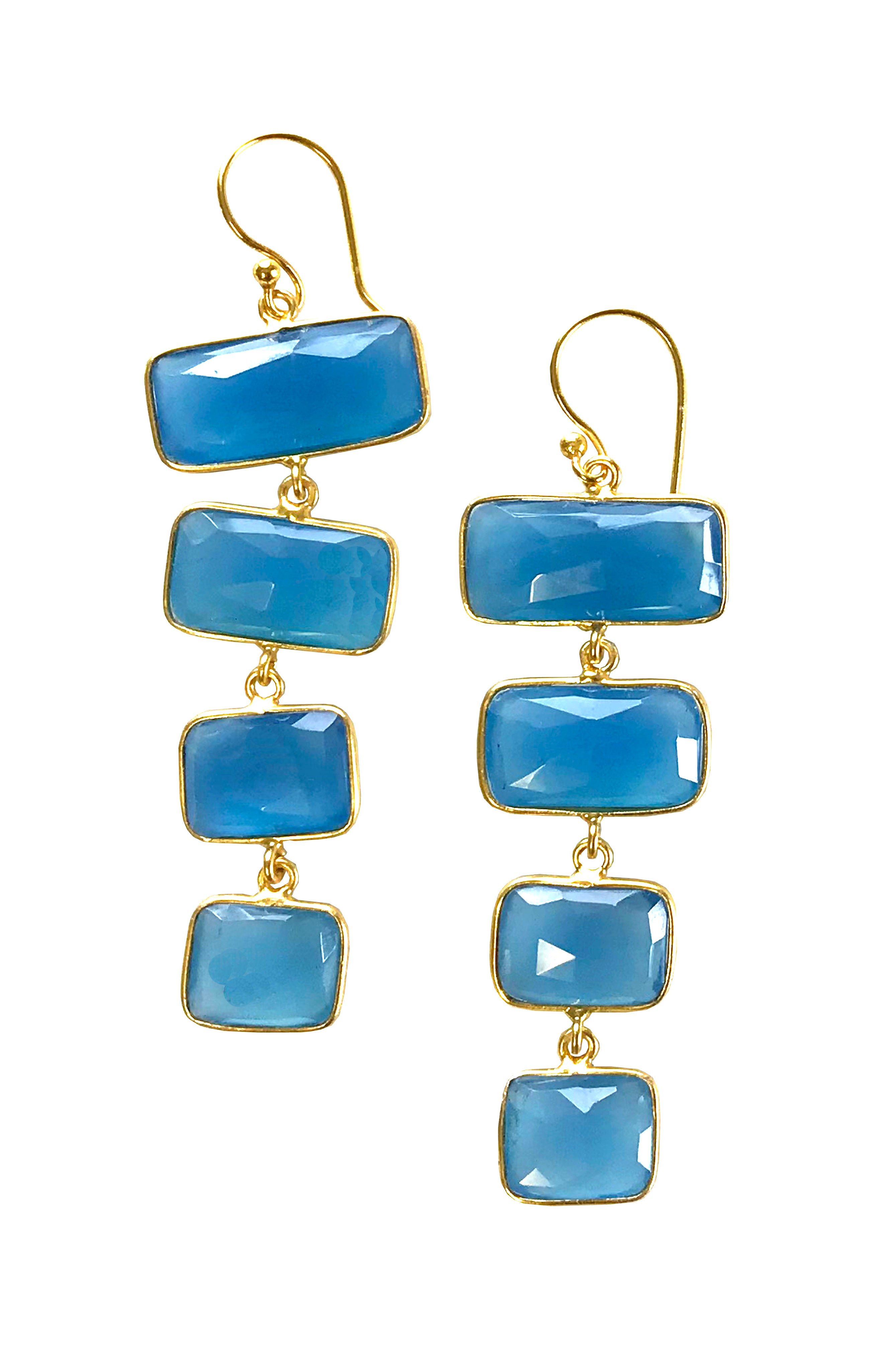 Luxurious Golden Cascading Drop Earrings with Blue Chalcedony