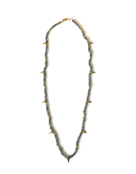 Labradorite Simple Spike Long Necklace