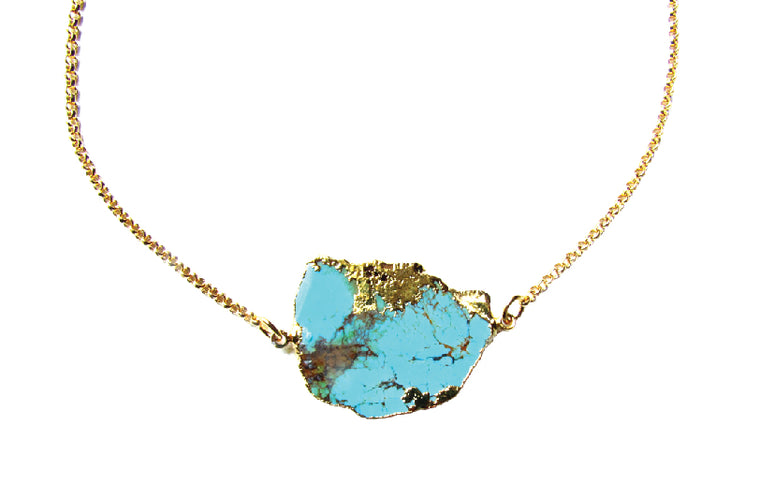 Turquoise Freeform Gold Bezel Necklace