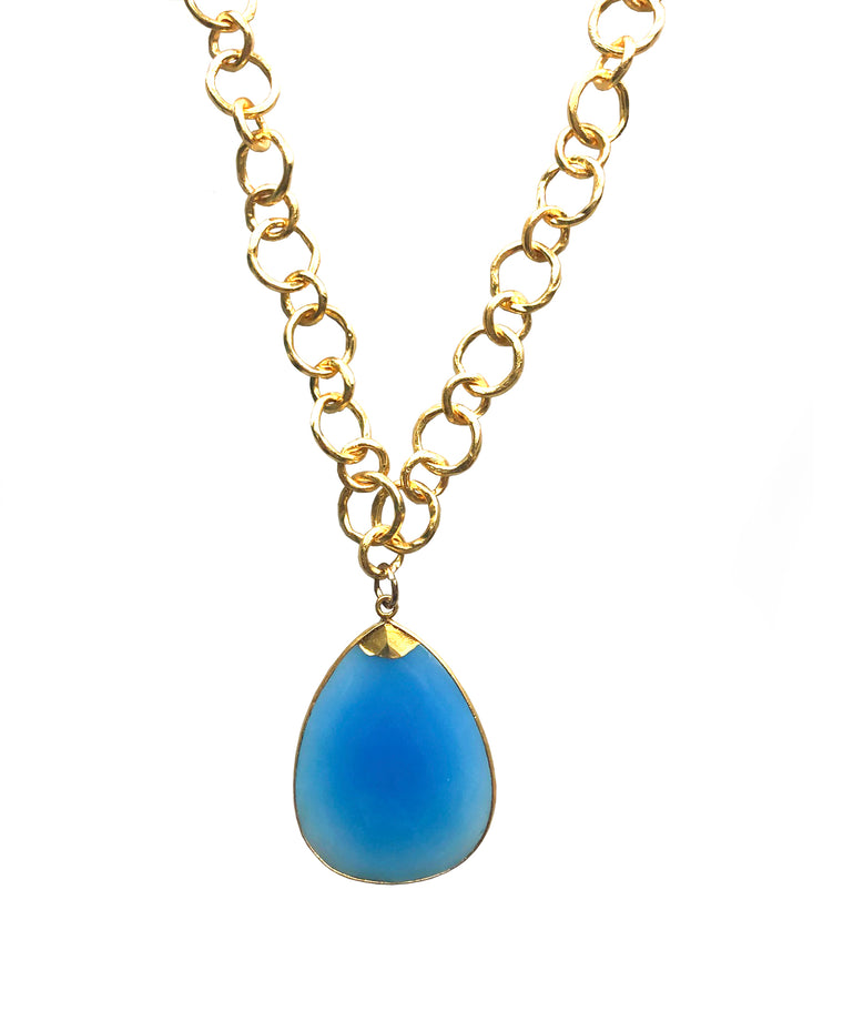 Smooth and Milky Blue Chalcedony Teardrop Pendant Necklace
