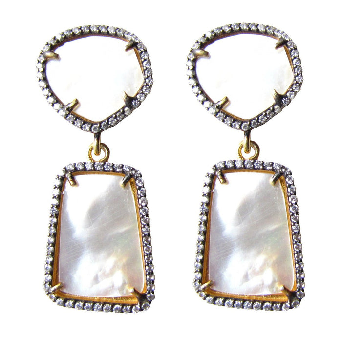 The Sia Earrings in Mother of Pearl