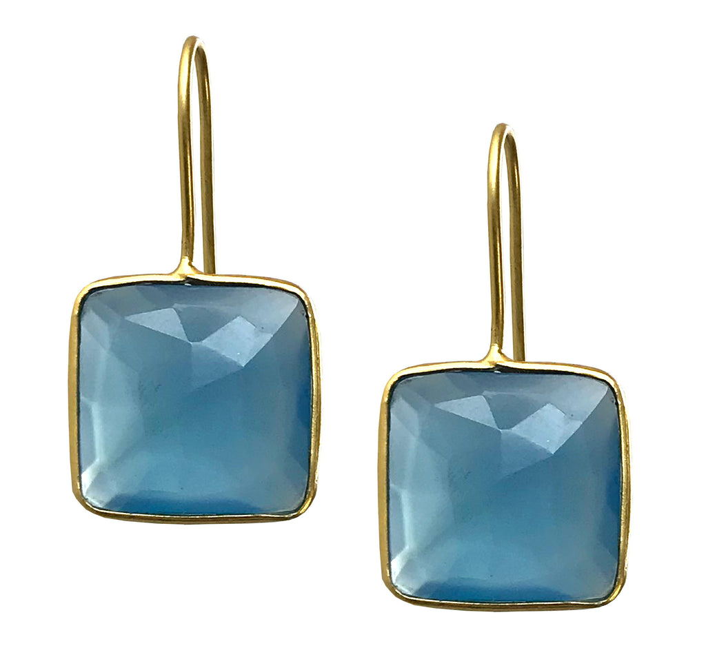 Elegant Gold and Blue Chalcedony Square Hook Drop Earrings