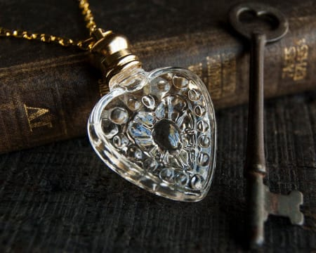 1New - Perfume Heart Amulet Necklace (Empty)