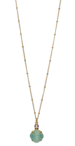 1New - Necklace - Single Drop 12mm Square - Gold Tone