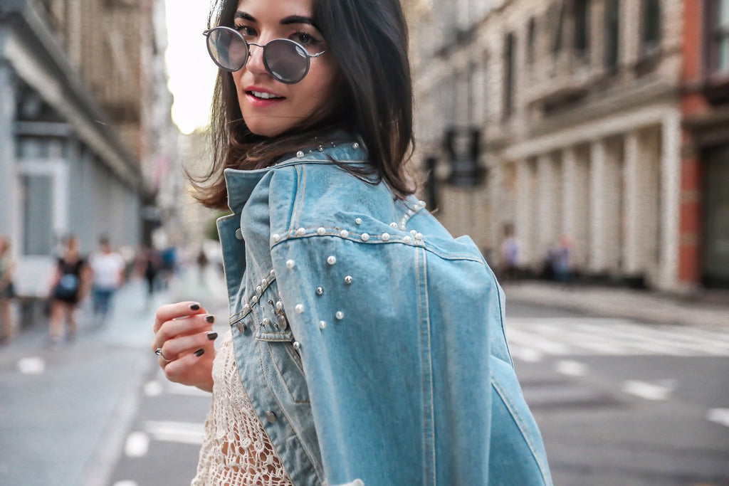PEARL STUDDED DENIM JACKET