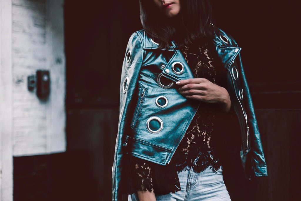 METALLIC LEATHER GROMMET JACKET
