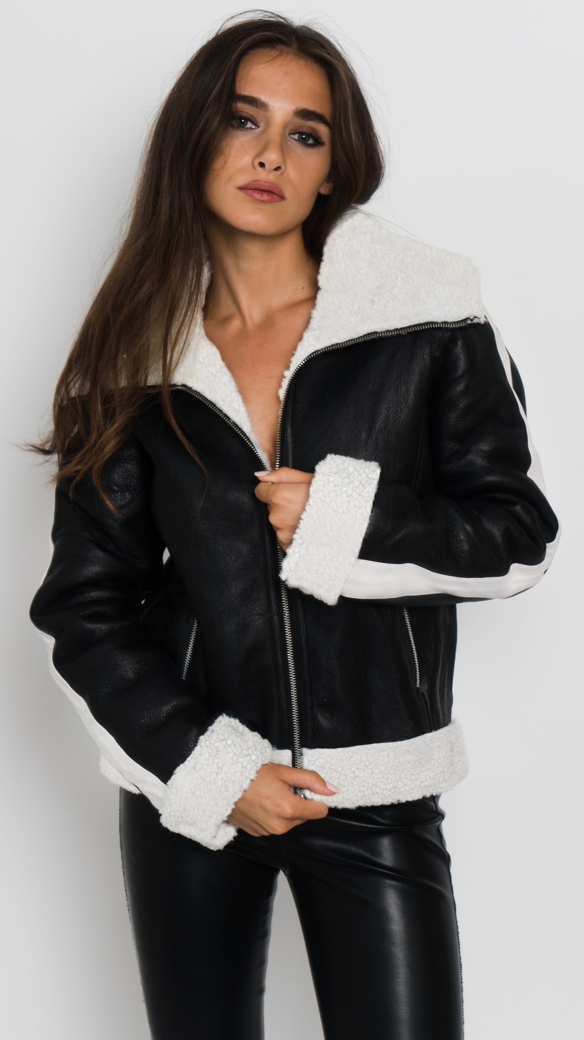 Faux Fur Shearling Bomber Jacket Front View
