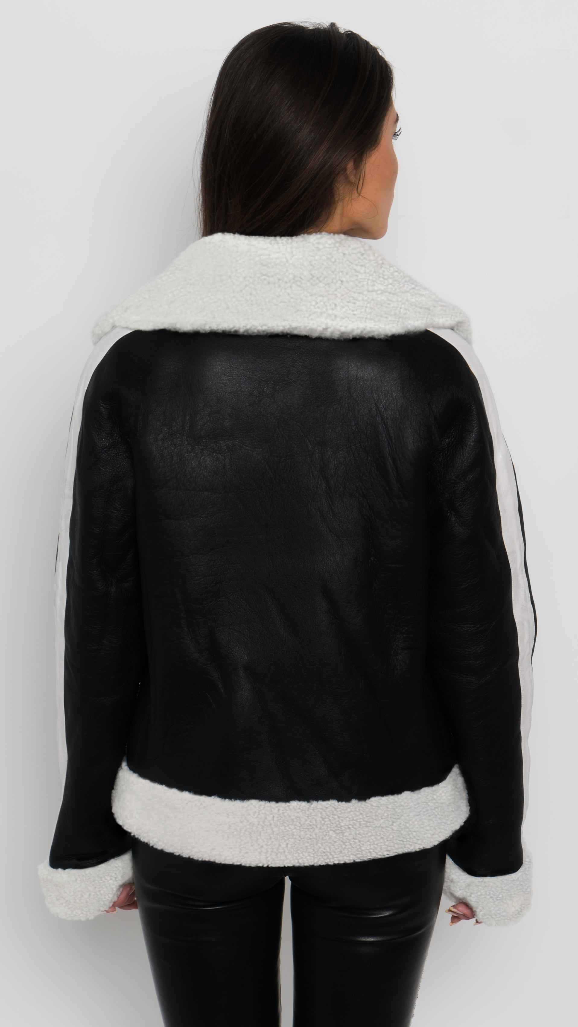 Faux Fur Shearling Bomber Jacket Back View