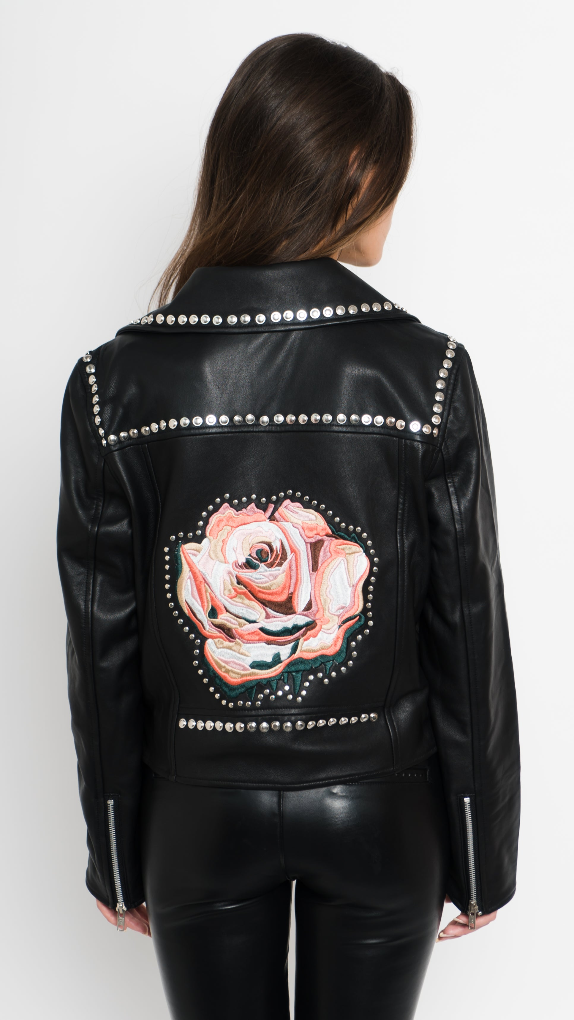Rose Studded Leather Moto Jacket Back View
