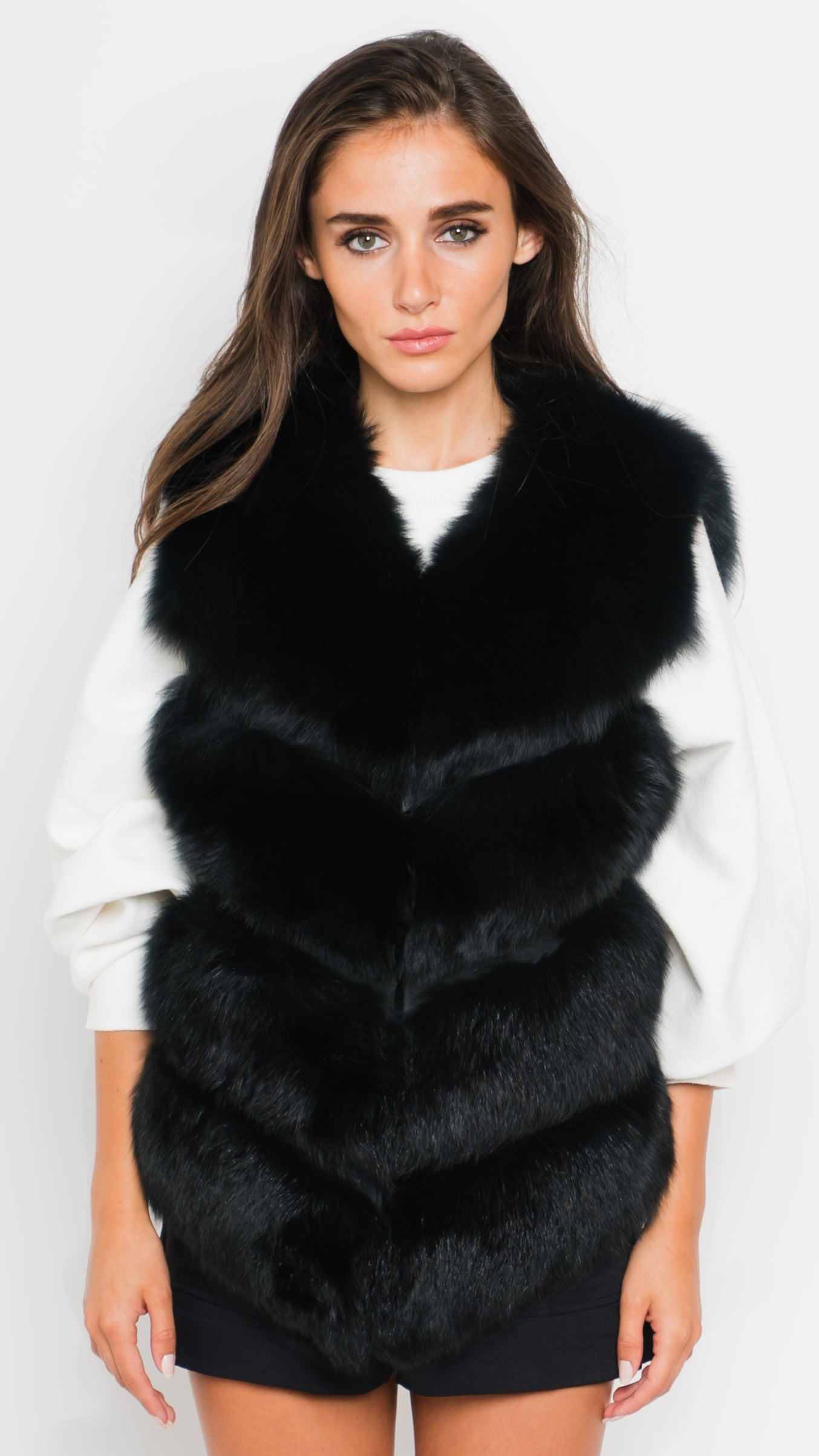 Black Fox Fur Vest Front View