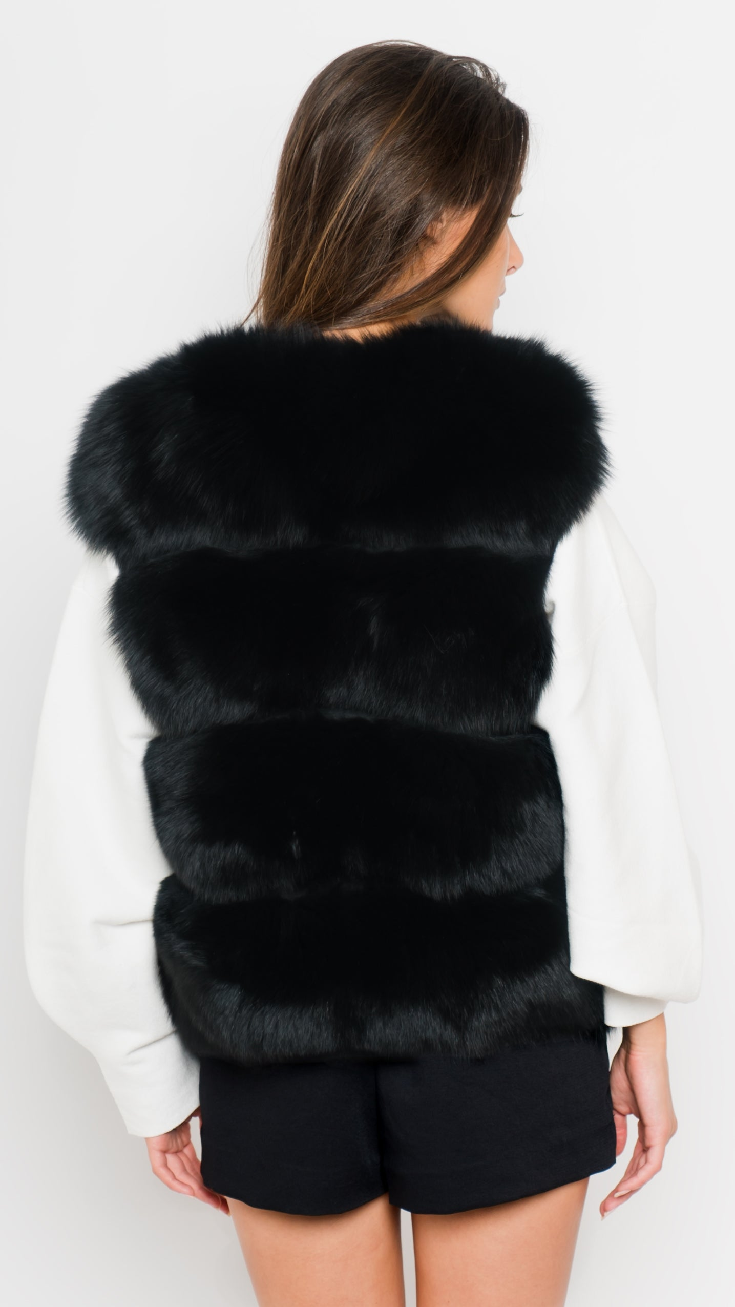 Black Fox Fur Vest Back View
