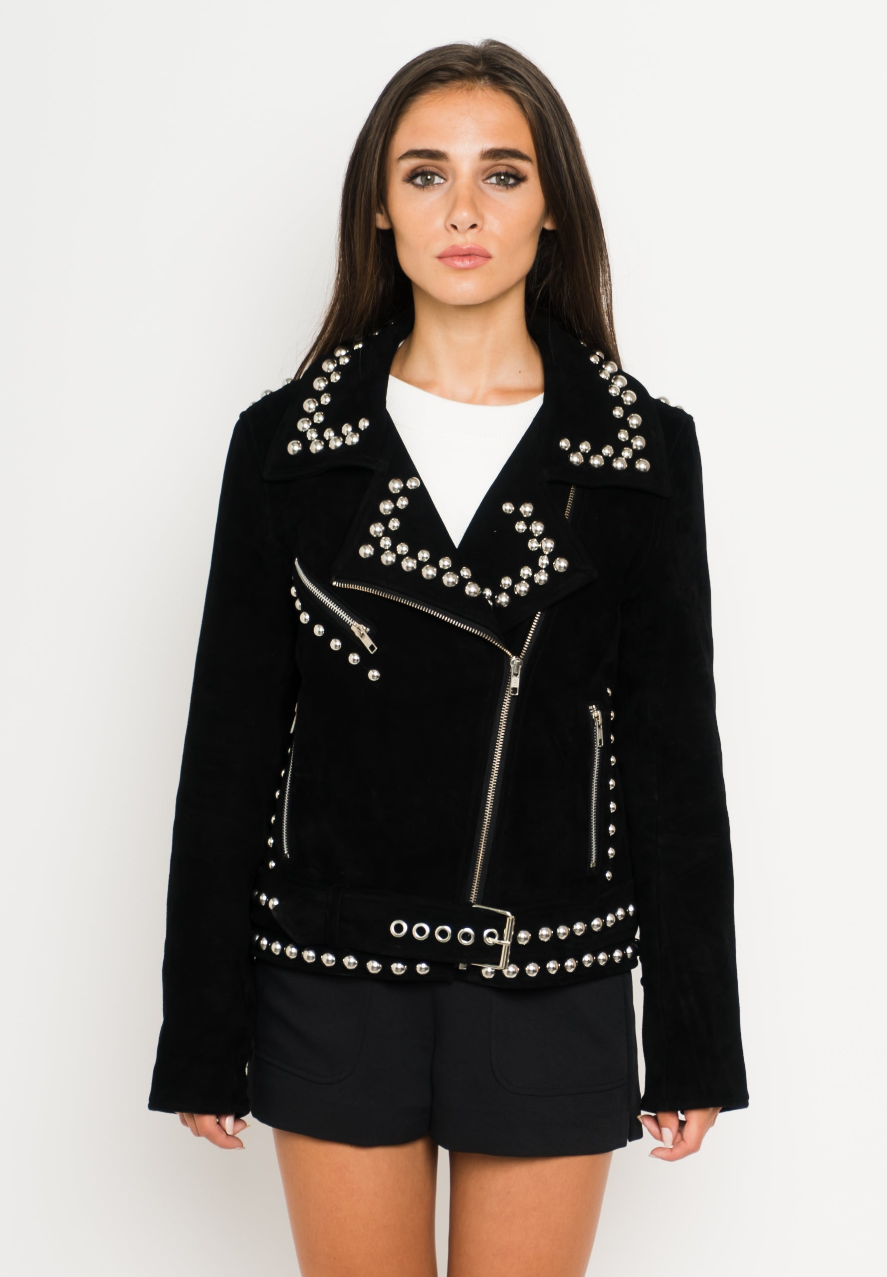 Studded Suede Leather Jacket Front View