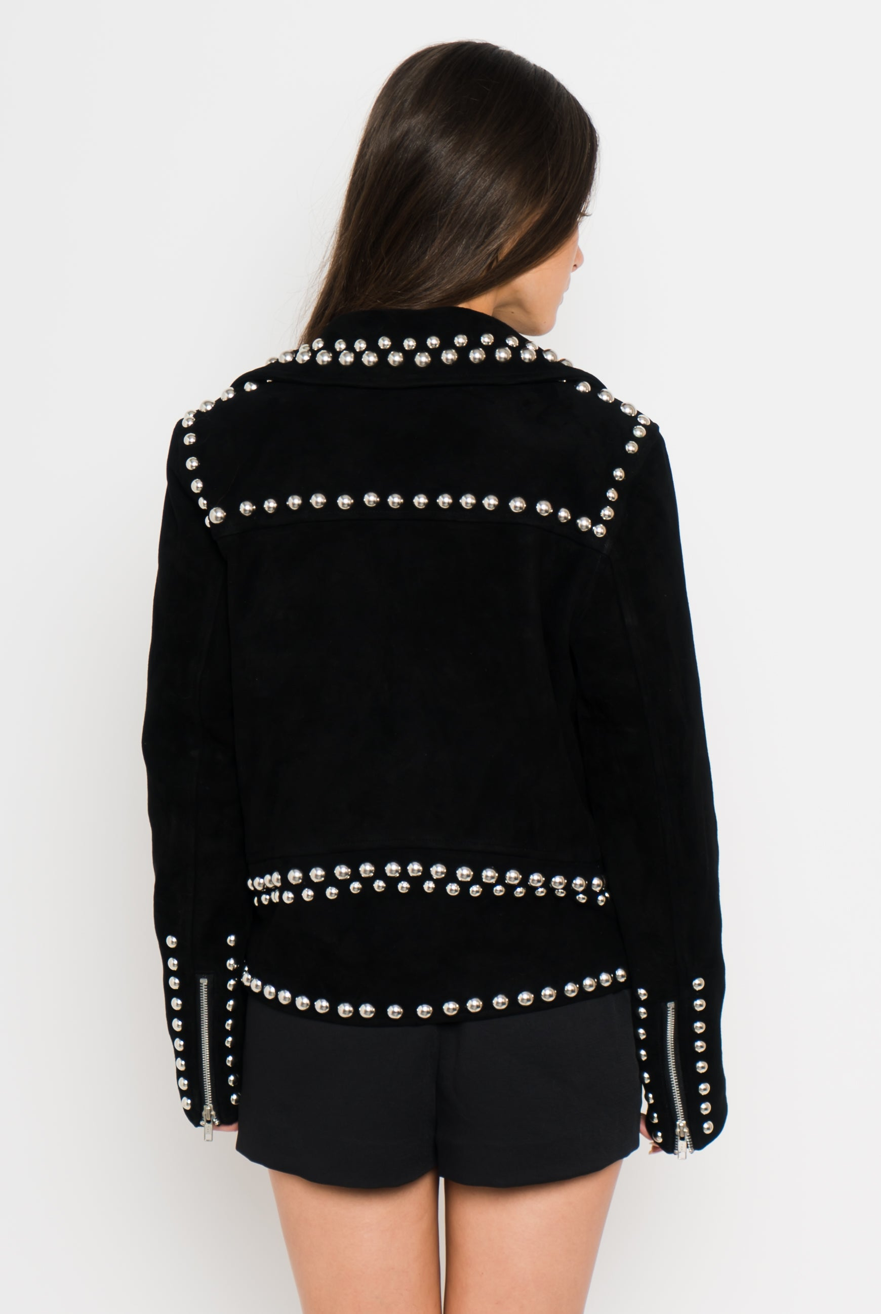 Studded Suede Leather Jacket Back View