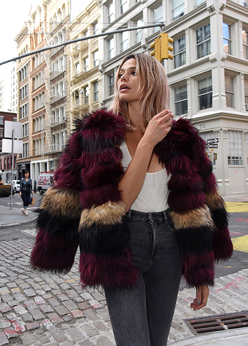 Mid-Length Dyed Fur Coat