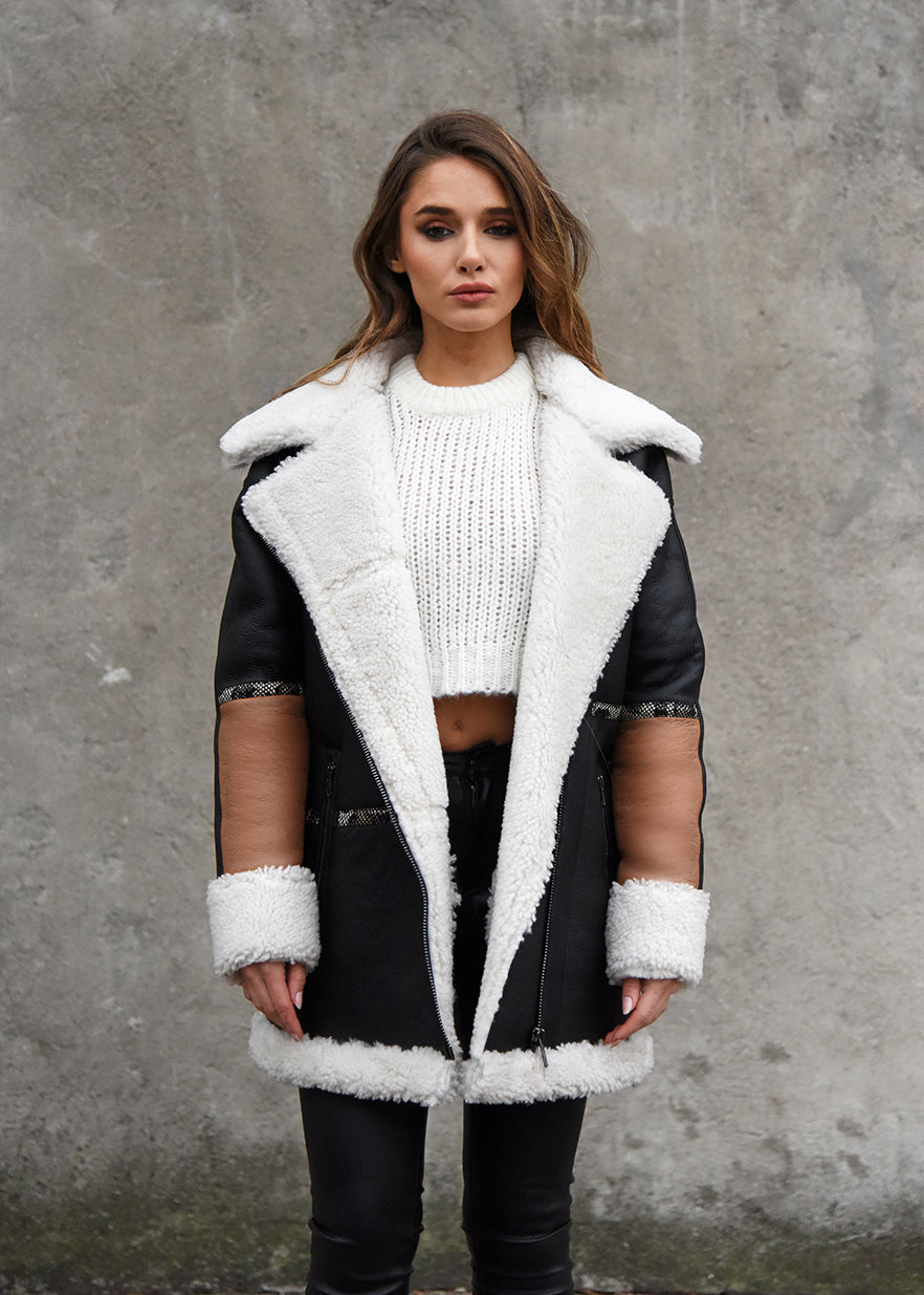 Oversized Shearling Snake Coat Front View