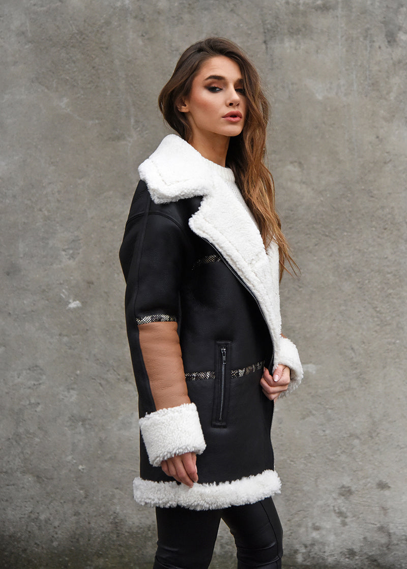 Oversized Shearling Snake Coat Side View
