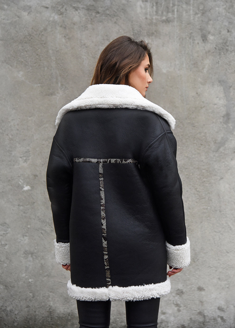 Oversized Shearling Snake Coat Back View